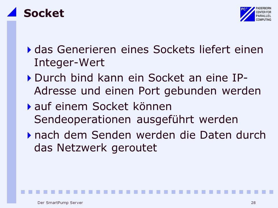 28Der SmartPump Server Socket das Generieren eines Sockets liefert einen Integer-Wert Durch bind kann ein Socket an eine IP- Adresse und einen Port gebunden werden auf einem Socket können Sendeoperationen ausgeführt werden nach dem Senden werden die Daten durch das Netzwerk geroutet