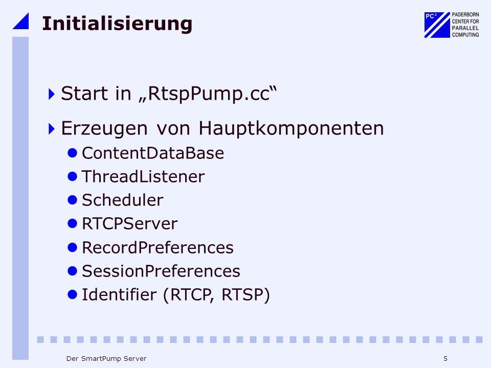 5Der SmartPump Server Initialisierung Start in RtspPump.cc Erzeugen von Hauptkomponenten ContentDataBase ThreadListener Scheduler RTCPServer RecordPreferences SessionPreferences Identifier (RTCP, RTSP)