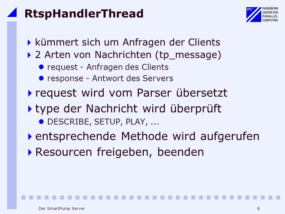 8Der SmartPump Server RtspHandlerThread kümmert sich um Anfragen der Clients 2 Arten von Nachrichten (tp_message) request - Anfragen des Clients response - Antwort des Servers request wird vom Parser übersetzt type der Nachricht wird überprüft DESCRIBE, SETUP, PLAY,...
