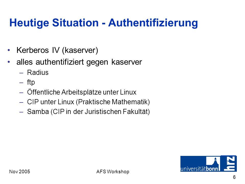 Nov 2005AFS Workshop 6 Heutige Situation - Authentifizierung Kerberos IV (kaserver) alles authentifiziert gegen kaserver –Radius –ftp –Öffentliche Arb