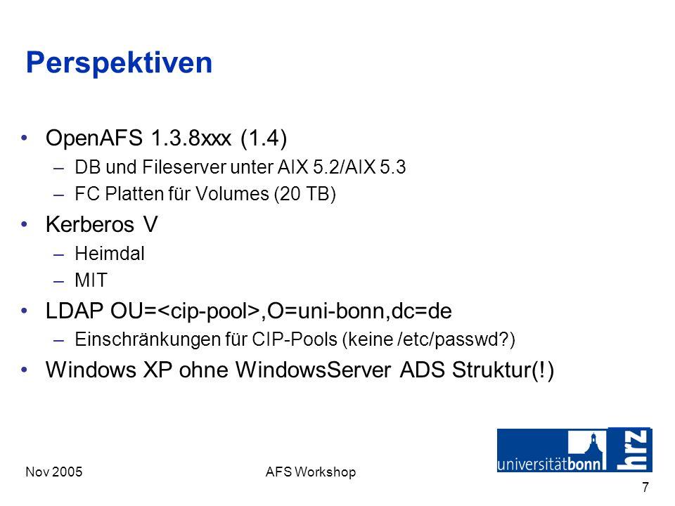 Nov 2005AFS Workshop 7 Perspektiven OpenAFS 1.3.8xxx (1.4) –DB und Fileserver unter AIX 5.2/AIX 5.3 –FC Platten für Volumes (20 TB) Kerberos V –Heimda