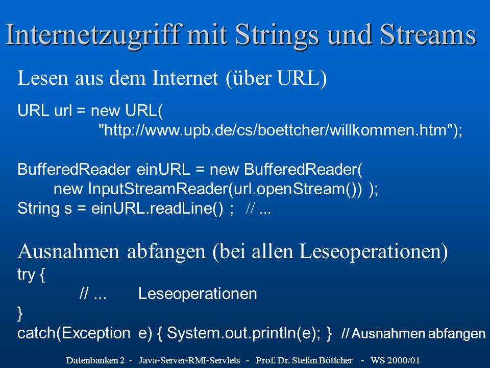 Datenbanken 2 - Java-Server-RMI-Servlets - Prof. Dr. Stefan Böttcher - WS 2000/01 Internetzugriff mit Strings und Streams Lesen aus dem Internet (über