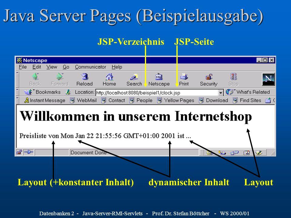 Datenbanken 2 - Java-Server-RMI-Servlets - Prof. Dr. Stefan Böttcher - WS 2000/01 Java Server Pages (Beispielausgabe) JSP-Verzeichnis JSP-Seite Layout