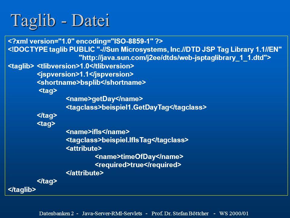 Datenbanken 2 - Java-Server-RMI-Servlets - Prof. Dr. Stefan Böttcher - WS 2000/01 Taglib - Datei <!DOCTYPE taglib PUBLIC