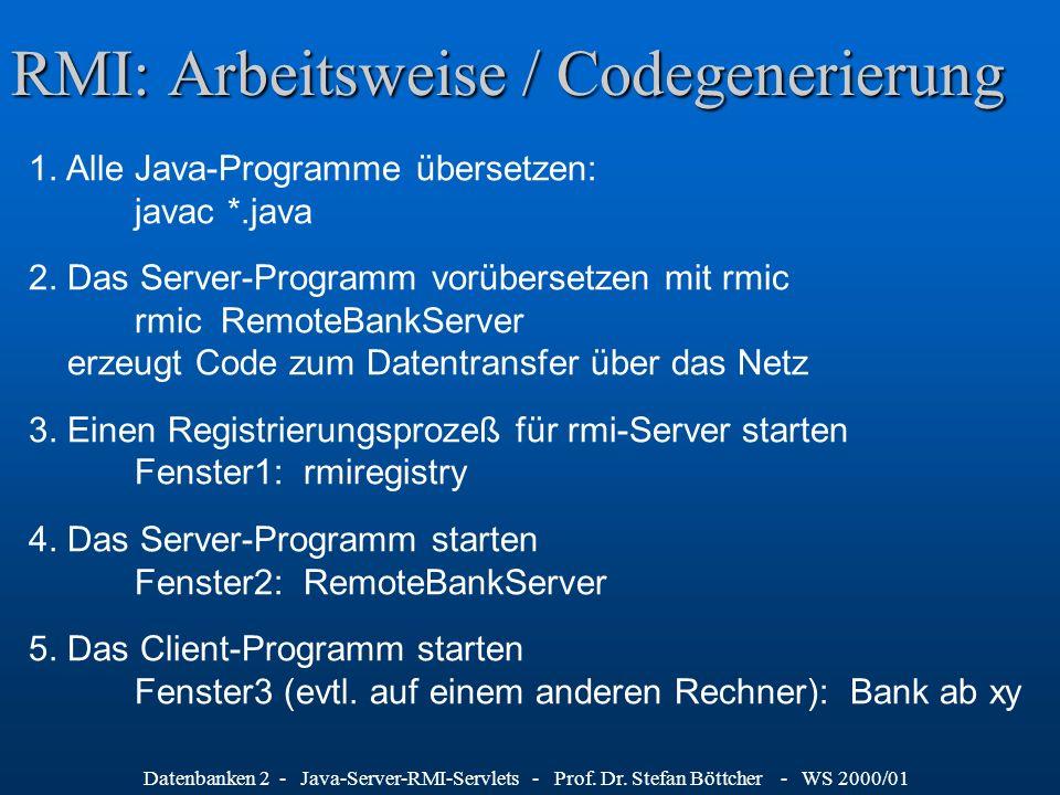 Datenbanken 2 - Java-Server-RMI-Servlets - Prof. Dr. Stefan Böttcher - WS 2000/01 RMI: Arbeitsweise / Codegenerierung 1. Alle Java-Programme übersetze