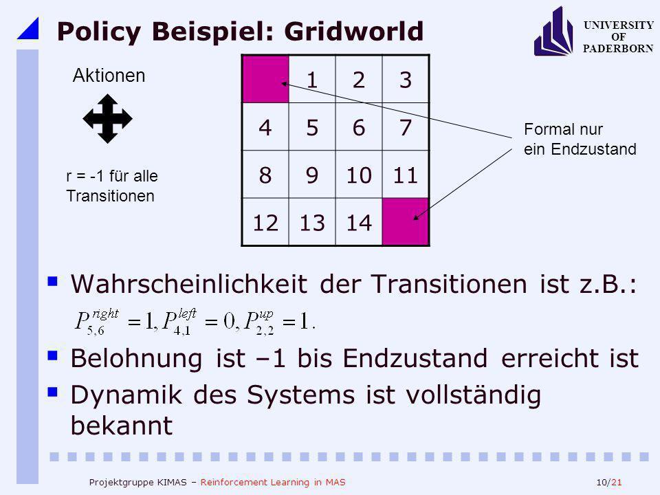 10/21 UNIVERSITY OF PADERBORN Projektgruppe KIMAS – Reinforcement Learning in MAS Policy Beispiel: Gridworld Wahrscheinlichkeit der Transitionen ist z.B.: Belohnung ist –1 bis Endzustand erreicht ist Dynamik des Systems ist vollständig bekannt 123 4567 891011 121314 Aktionen r = -1 für alle Transitionen Formal nur ein Endzustand
