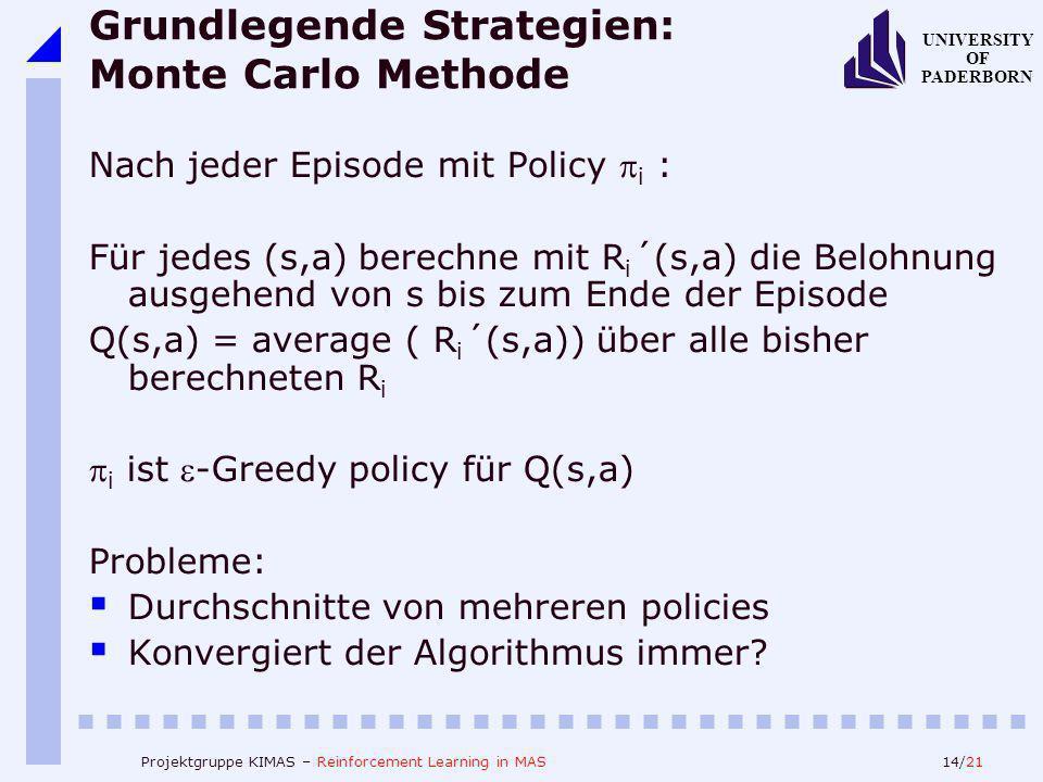 14/21 UNIVERSITY OF PADERBORN Projektgruppe KIMAS – Reinforcement Learning in MAS Grundlegende Strategien: Monte Carlo Methode Nach jeder Episode mit Policy i : Für jedes (s,a) berechne mit R i ´(s,a) die Belohnung ausgehend von s bis zum Ende der Episode Q(s,a) = average ( R i ´(s,a)) über alle bisher berechneten R i i ist -Greedy policy für Q(s,a) Probleme: Durchschnitte von mehreren policies Konvergiert der Algorithmus immer