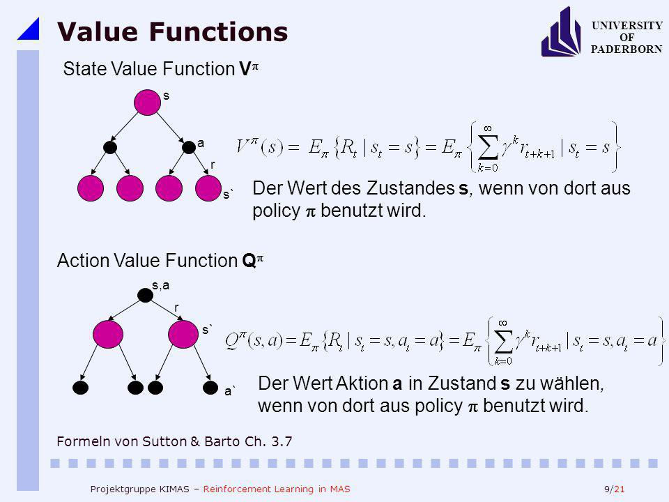 9/21 UNIVERSITY OF PADERBORN Projektgruppe KIMAS – Reinforcement Learning in MAS Value Functions Formeln von Sutton & Barto Ch. 3.7 Action Value Funct