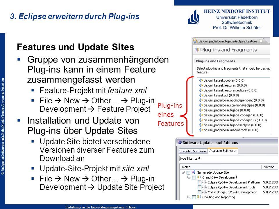 © Fachgebiet Softwaretechnik, Heinz Nixdorf Institut, Universität Paderborn 3. Eclipse erweitern durch Plug-ins Einführung in die Entwicklungsumgebung