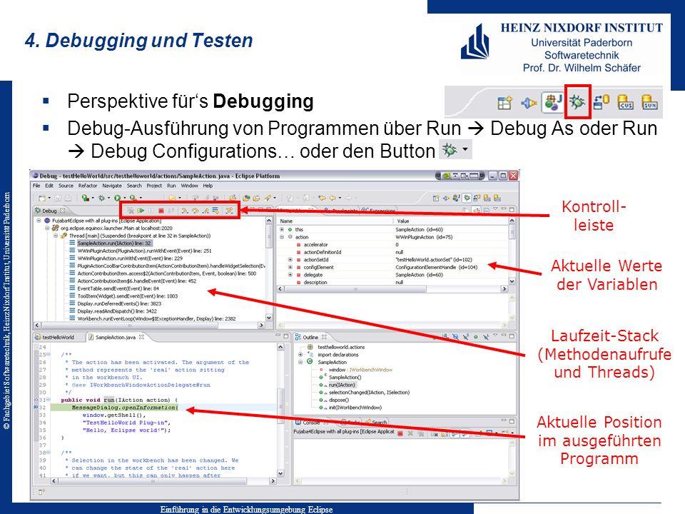 © Fachgebiet Softwaretechnik, Heinz Nixdorf Institut, Universität Paderborn 4. Debugging und Testen Einführung in die Entwicklungsumgebung Eclipse Akt