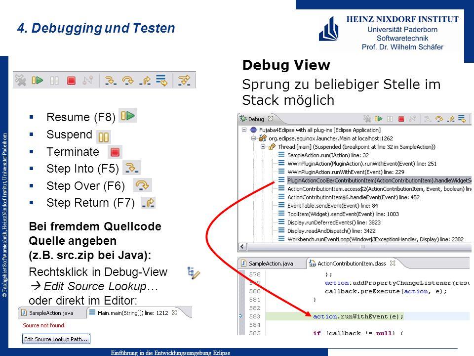 © Fachgebiet Softwaretechnik, Heinz Nixdorf Institut, Universität Paderborn 4. Debugging und Testen Kontrollleiste Resume (F8) Suspend Terminate Step