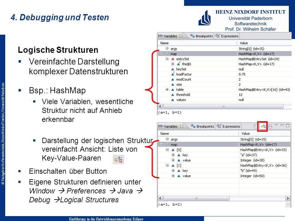 © Fachgebiet Softwaretechnik, Heinz Nixdorf Institut, Universität Paderborn 4. Debugging und Testen Einführung in die Entwicklungsumgebung Eclipse Log