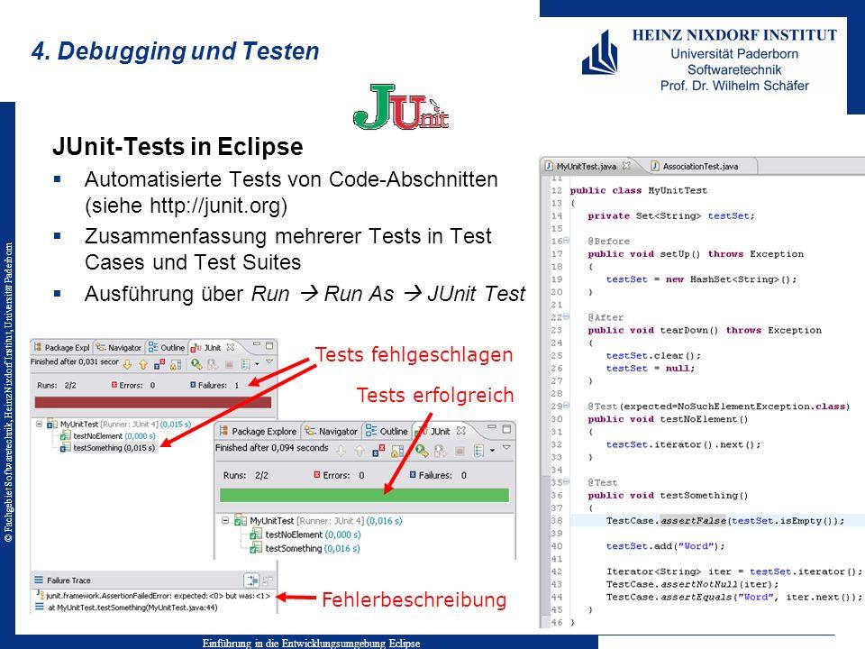 © Fachgebiet Softwaretechnik, Heinz Nixdorf Institut, Universität Paderborn 4. Debugging und Testen JUnit-Tests in Eclipse Automatisierte Tests von Co