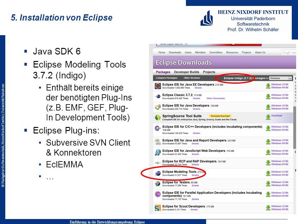 © Fachgebiet Softwaretechnik, Heinz Nixdorf Institut, Universität Paderborn 5. Installation von Eclipse Java SDK 6 Eclipse Modeling Tools 3.7.2 (Indig