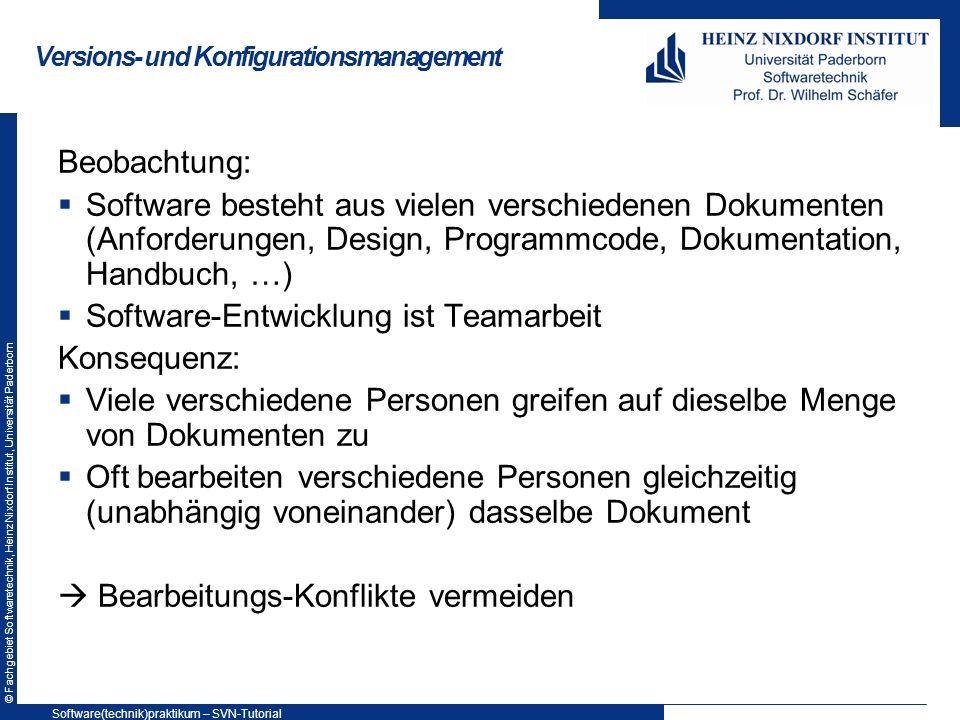 © Fachgebiet Softwaretechnik, Heinz Nixdorf Institut, Universität Paderborn Übung 2: Merging Merging 1.A: Methode fac() durch eine iterative Version ersetzen 2.B: Methode public static void printfac() ergänzen, die die Fakultäten von 5 und 10 ausgibt (wichtig: unterhalb von fac() ); aufrufen in main() -Methode 3.A: Compare with… 4.A: Synchronize with Repository, Einchecken 5.B: Compare with … 6.B: Synchronize with Repository, Einchecken, Update, Einchecken Software(technik)praktikum – SVN-Tutorial