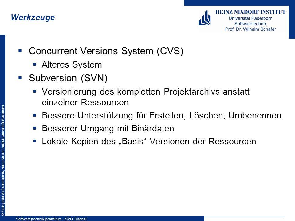 © Fachgebiet Softwaretechnik, Heinz Nixdorf Institut, Universität Paderborn Werkzeuge Concurrent Versions System (CVS) Älteres System Subversion (SVN)