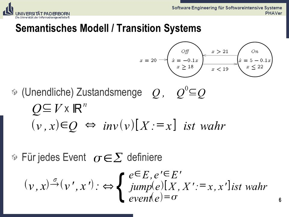 6 Software Engineering für Softwareintensive Systeme PHAVer Semantisches Modell / Transition Systems (Unendliche) Zustandsmenge x Für jedes Event defi