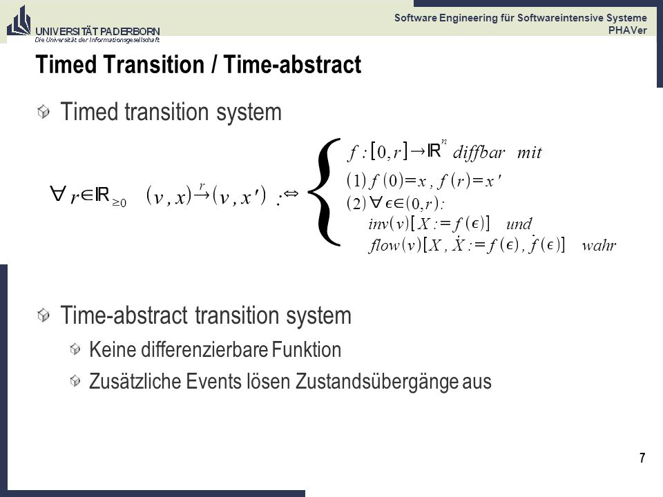 7 Software Engineering für Softwareintensive Systeme PHAVer Timed Transition / Time-abstract Timed transition system r 0 v,x r v,x' : { Time-abstract
