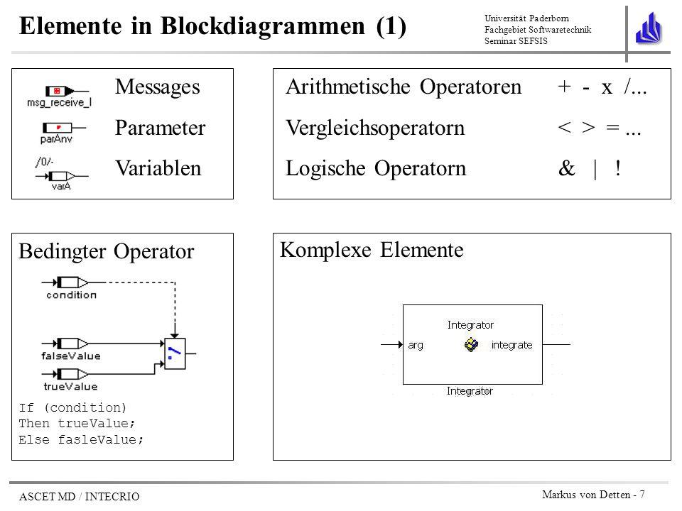 Universität Paderborn Fachgebiet Softwaretechnik Seminar SEFSIS ASCET MD / INTECRIO Markus von Detten - 18 INTECRIO Modellierungs-Tools unterschiedlich gut geeignet für bestimmte Aspekte (z.B.