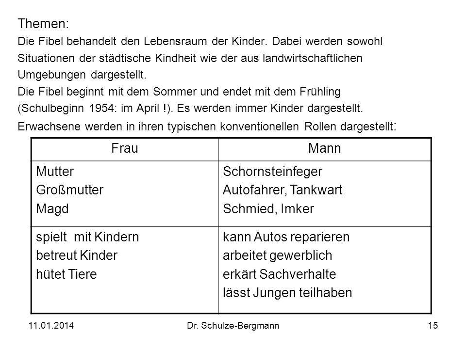11.01.2014Dr. Schulze-Bergmann15 Themen: Die Fibel behandelt den Lebensraum der Kinder. Dabei werden sowohl Situationen der städtische Kindheit wie de
