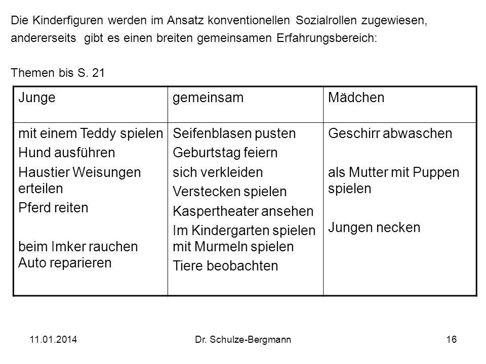 11.01.2014Dr. Schulze-Bergmann16 Die Kinderfiguren werden im Ansatz konventionellen Sozialrollen zugewiesen, andererseits gibt es einen breiten gemein