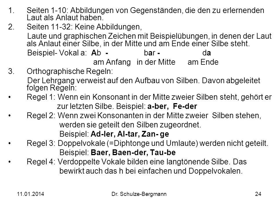 11.01.2014Dr. Schulze-Bergmann24 1.Seiten 1-10: Abbildungen von Gegenständen, die den zu erlernenden Laut als Anlaut haben. 2.Seiten 11-32: Keine Abbi