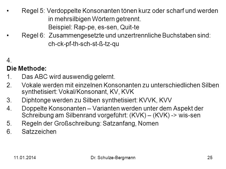 11.01.2014Dr. Schulze-Bergmann25 Regel 5: Verdoppelte Konsonanten tönen kurz oder scharf und werden in mehrsilbigen Wörtern getrennt. Beispiel: Rap-pe