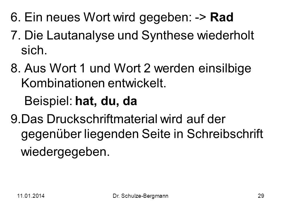 11.01.2014Dr. Schulze-Bergmann29 6. Ein neues Wort wird gegeben: -> Rad 7. Die Lautanalyse und Synthese wiederholt sich. 8. Aus Wort 1 und Wort 2 werd