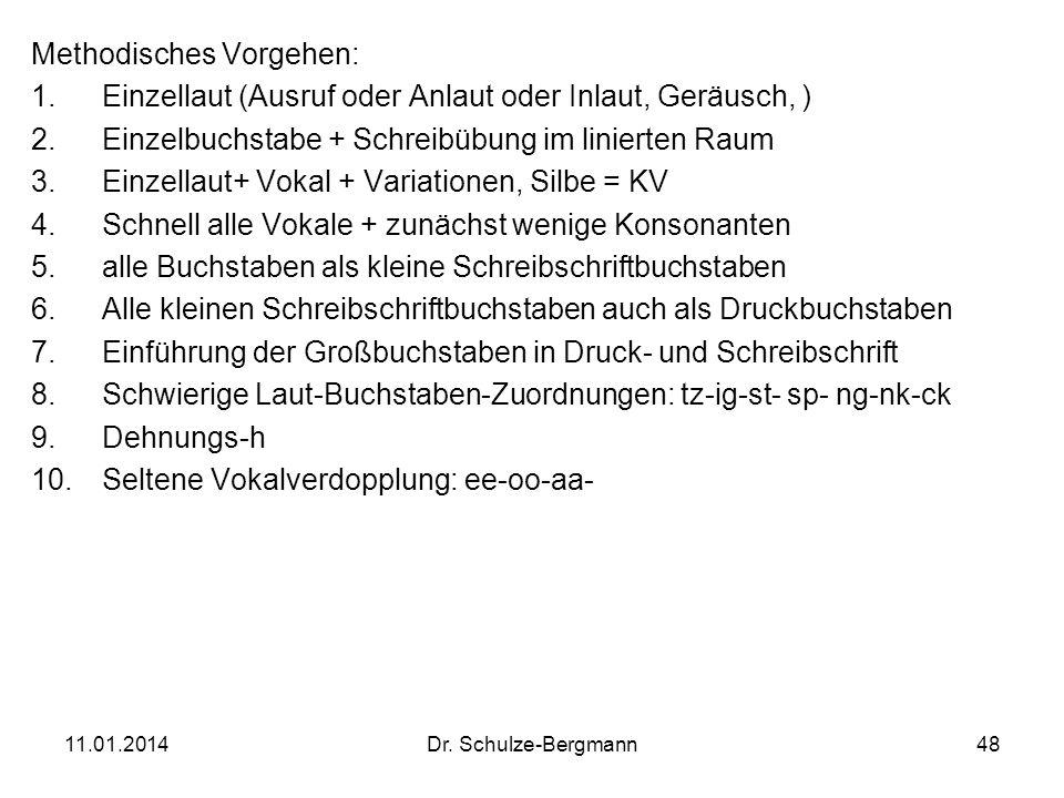11.01.2014Dr. Schulze-Bergmann48 Methodisches Vorgehen: 1.Einzellaut (Ausruf oder Anlaut oder Inlaut, Geräusch, ) 2.Einzelbuchstabe + Schreibübung im