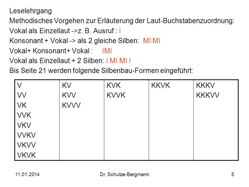 11.01.2014Dr. Schulze-Bergmann5 Leselehrgang Methodisches Vorgehen zur Erläuterung der Laut-Buchstabenzuordnung: Vokal als Einzellaut ->z. B. Ausruf :