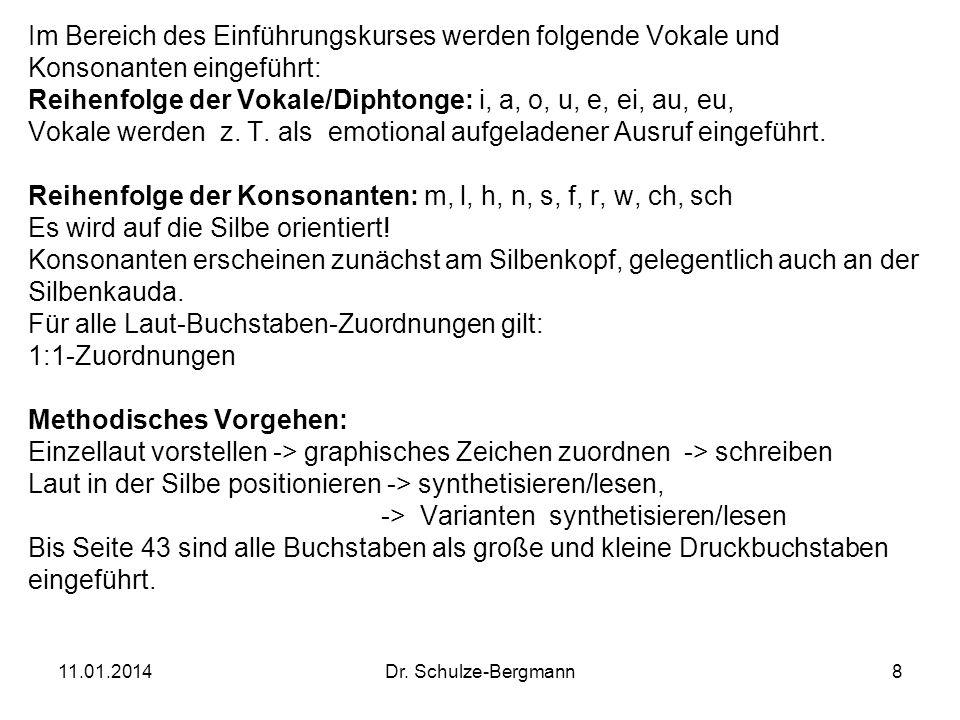 11.01.2014Dr. Schulze-Bergmann8 Im Bereich des Einführungskurses werden folgende Vokale und Konsonanten eingeführt: Reihenfolge der Vokale/Diphtonge: