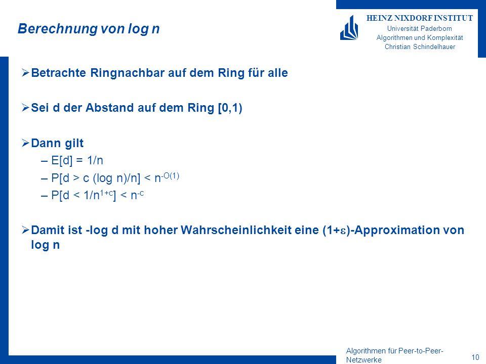 Algorithmen für Peer-to-Peer- Netzwerke 10 HEINZ NIXDORF INSTITUT Universität Paderborn Algorithmen und Komplexität Christian Schindelhauer Berechnung von log n Betrachte Ringnachbar auf dem Ring für alle Sei d der Abstand auf dem Ring [0,1) Dann gilt –E[d] = 1/n –P[d > c (log n)/n] < n -O(1) –P[d < 1/n 1+c ] < n -c Damit ist -log d mit hoher Wahrscheinlichkeit eine (1+ )-Approximation von log n