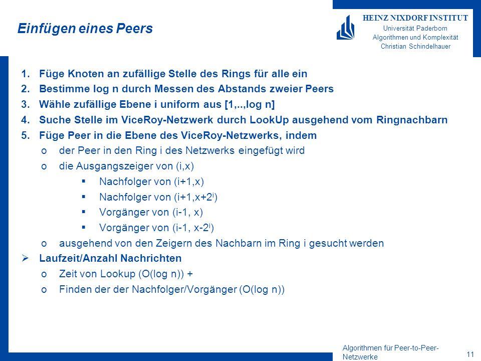 Algorithmen für Peer-to-Peer- Netzwerke 11 HEINZ NIXDORF INSTITUT Universität Paderborn Algorithmen und Komplexität Christian Schindelhauer Einfügen eines Peers 1.Füge Knoten an zufällige Stelle des Rings für alle ein 2.Bestimme log n durch Messen des Abstands zweier Peers 3.Wähle zufällige Ebene i uniform aus [1,..,log n] 4.Suche Stelle im ViceRoy-Netzwerk durch LookUp ausgehend vom Ringnachbarn 5.Füge Peer in die Ebene des ViceRoy-Netzwerks, indem oder Peer in den Ring i des Netzwerks eingefügt wird odie Ausgangszeiger von (i,x) Nachfolger von (i+1,x) Nachfolger von (i+1,x+2 i ) Vorgänger von (i-1, x) Vorgänger von (i-1, x-2 i ) oausgehend von den Zeigern des Nachbarn im Ring i gesucht werden Laufzeit/Anzahl Nachrichten oZeit von Lookup (O(log n)) + oFinden der der Nachfolger/Vorgänger (O(log n))