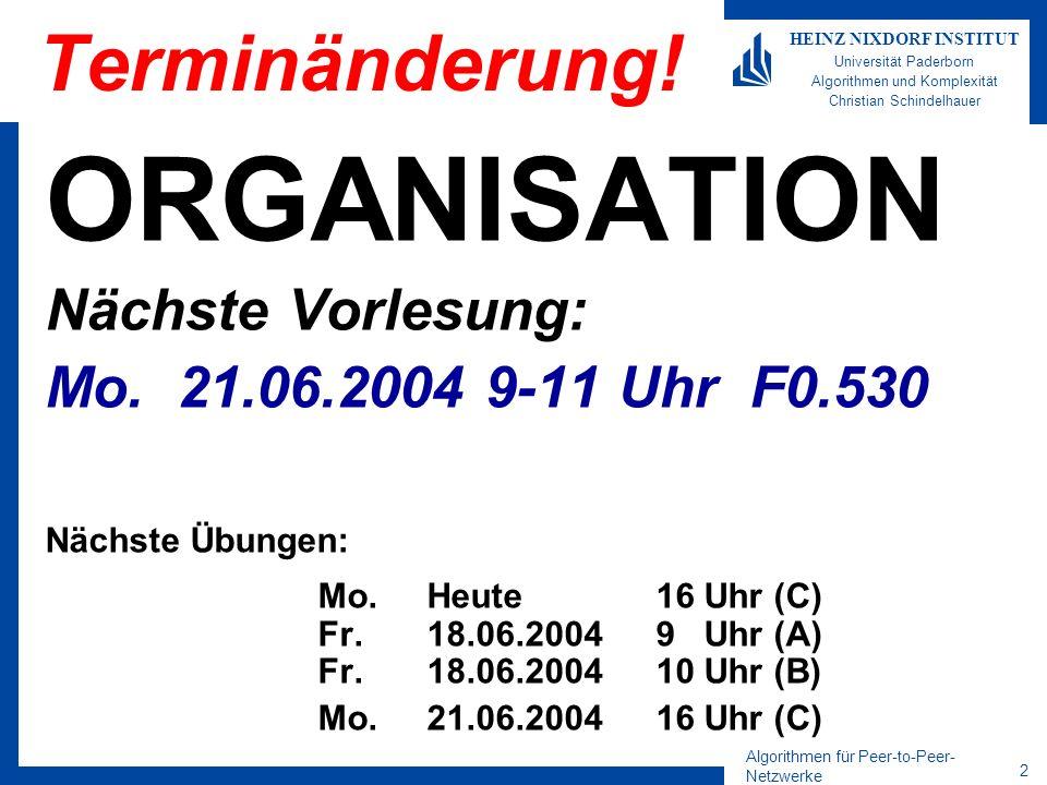 Algorithmen für Peer-to-Peer- Netzwerke 23 HEINZ NIXDORF INSTITUT Universität Paderborn Algorithmen und Komplexität Christian Schindelhauer Aufbau von Distance-Halving Peers werden den Teilintervallen zugewiesen Zusätzlich werden benachbarte Teilintervalle durch Doppelverkettung verbunden Das größte Intervall hat (mit hoher Wahrscheinlichkeit) Länge 2/n Das kleinste Intervall (mit hoher Wkeit) Länge 1/(2n) Damit ist der Ein- und Aus-grad konstant Der Durchmesser ist logarithmisch