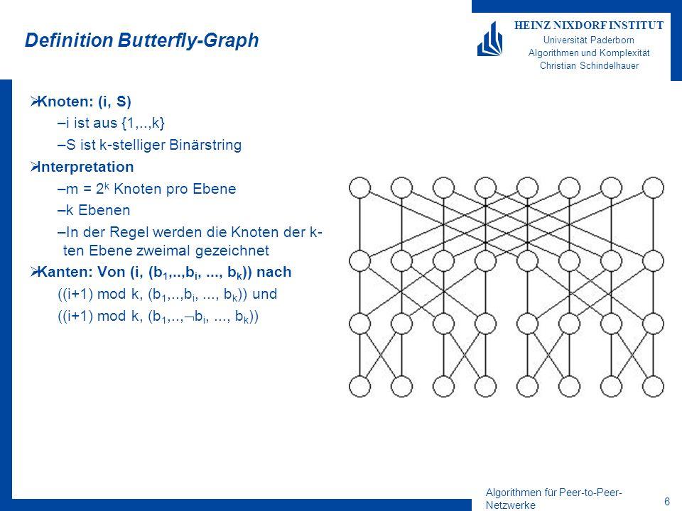Algorithmen für Peer-to-Peer- Netzwerke 7 HEINZ NIXDORF INSTITUT Universität Paderborn Algorithmen und Komplexität Christian Schindelhauer Eigenschaften Butterfly-Graph Kleiner Grad –Ein+Ausgrad = 4 Kleiner Durchmesser –mit log m = log n + log log n (fast) optimal Gute Simluationseigenschaften –Andere Netzwerke können sehr effizien in einen Butterfly-Graphen eingebettet werden –D.h.