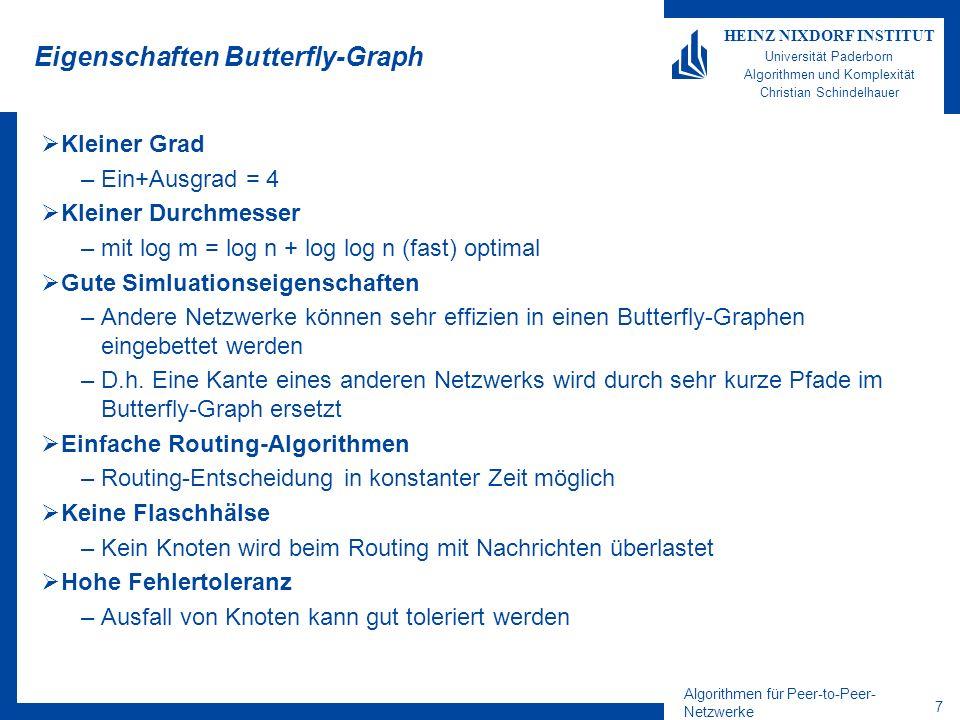 Algorithmen für Peer-to-Peer- Netzwerke 18 HEINZ NIXDORF INSTITUT Universität Paderborn Algorithmen und Komplexität Christian Schindelhauer Beweis von Lemma* Sei das längste Intervall c/n (c kann von n abhängig sein).
