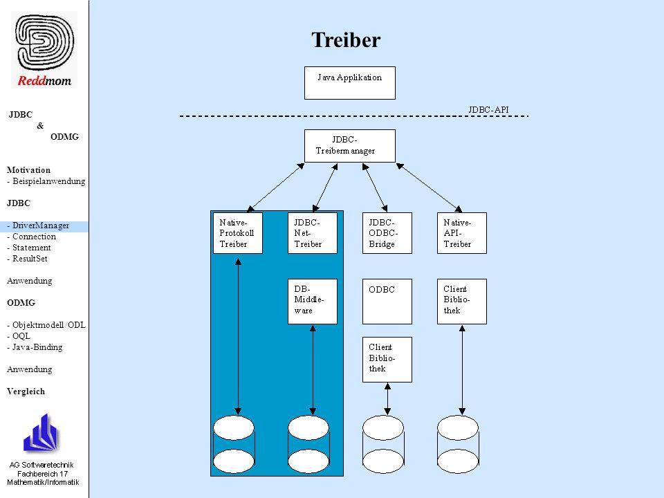 JDBC & ODMG Motivation - Beispielanwendung JDBC - DriverManager - Connection - Statement - ResultSet Anwendung ODMG - Objektmodell /ODL - OQL - Java-Binding Anwendung Vergleich java.sql.Connection Erzeugen eines Statement-Objektes: Statement createStatement() throws SQLException; Studiverwaltung: import java.sql.* ; public class DBRequest { public static void main (String [] args) { try { // Laden des Treibers Class c = Class.forName( sun.jdbc.odbc.JdbcOdbcDriver ); // Aufbau der Verbindung zur DB Connection con = DriverManager.getConnection( jdbc:odbc:studiverw ); //Statement-Objekt erzeugen Statement stmt = con.createStatement();...