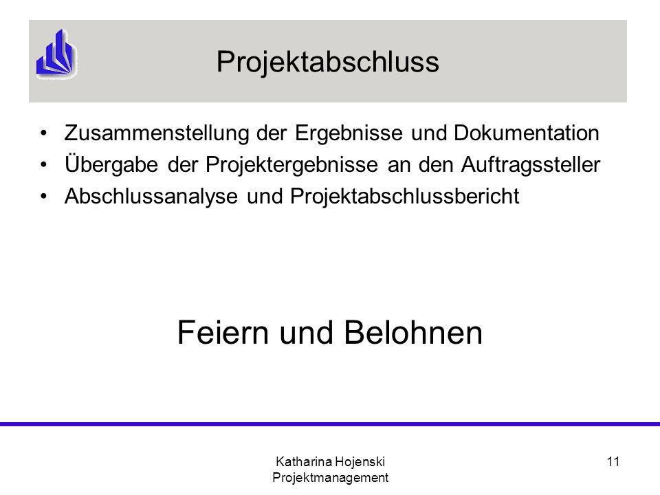 Katharina Hojenski Projektmanagement 11 Projektabschluss Zusammenstellung der Ergebnisse und Dokumentation Übergabe der Projektergebnisse an den Auftr