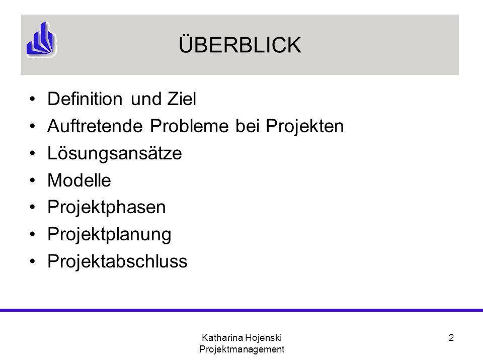 Katharina Hojenski Projektmanagement 2 ÜBERBLICK Definition und Ziel Auftretende Probleme bei Projekten Lösungsansätze Modelle Projektphasen Projektpl