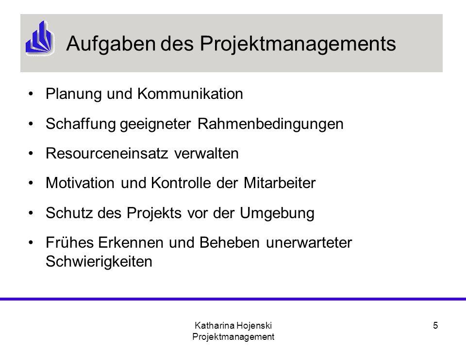 Katharina Hojenski Projektmanagement 5 Aufgaben des Projektmanagements Planung und Kommunikation Schaffung geeigneter Rahmenbedingungen Resourceneinsa