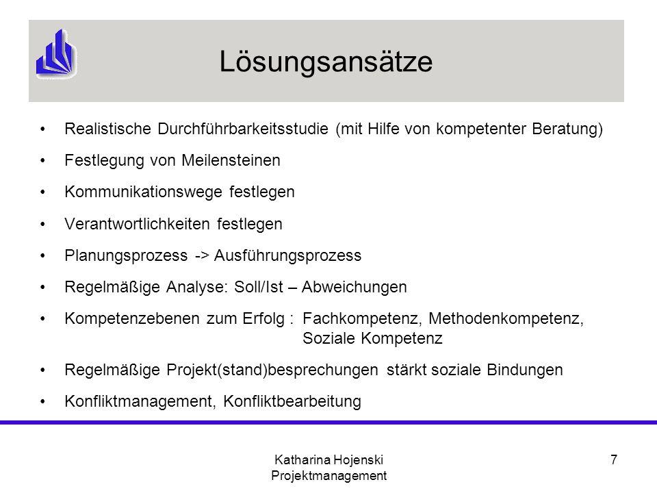 Katharina Hojenski Projektmanagement 7 Lösungsansätze Realistische Durchführbarkeitsstudie (mit Hilfe von kompetenter Beratung) Festlegung von Meilens
