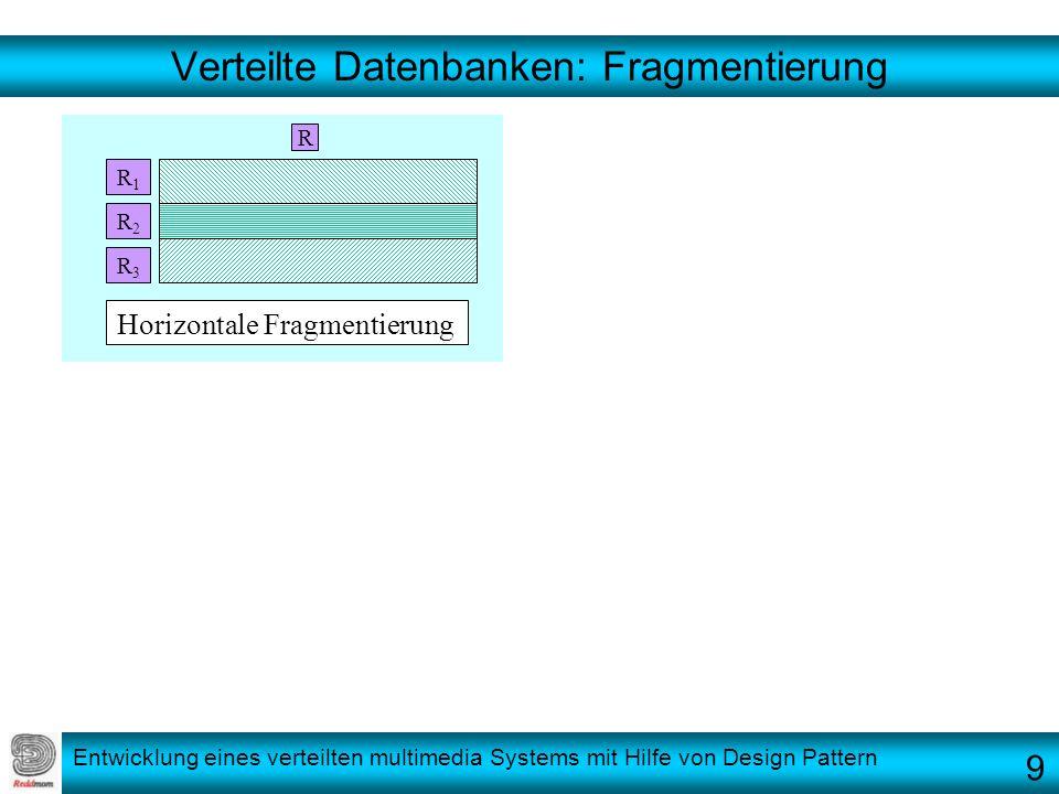 Entwicklung eines verteilten multimedia Systems mit Hilfe von Design Pattern Verteilte Datenbanken: Fragmentierung R R1R1 R2R2 R3R3 Horizontale Fragme