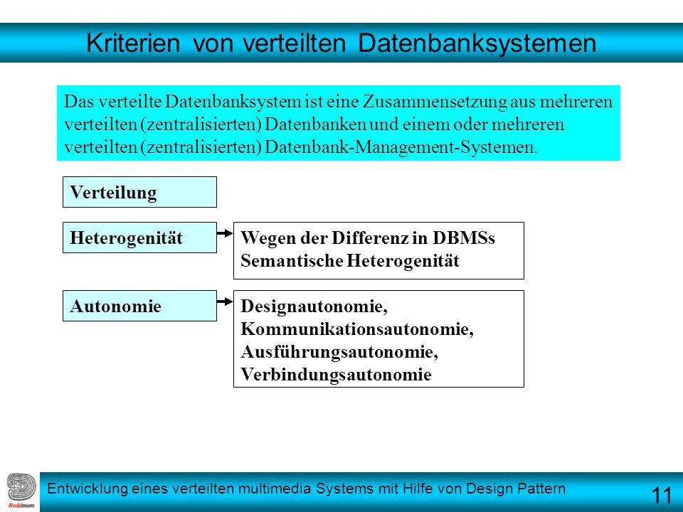 Entwicklung eines verteilten multimedia Systems mit Hilfe von Design Pattern Kriterien von verteilten Datenbanksystemen Das verteilte Datenbanksystem
