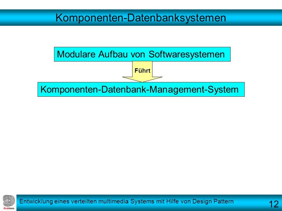 Entwicklung eines verteilten multimedia Systems mit Hilfe von Design Pattern Komponenten-Datenbanksystemen Modulare Aufbau von Softwaresystemen Kompon