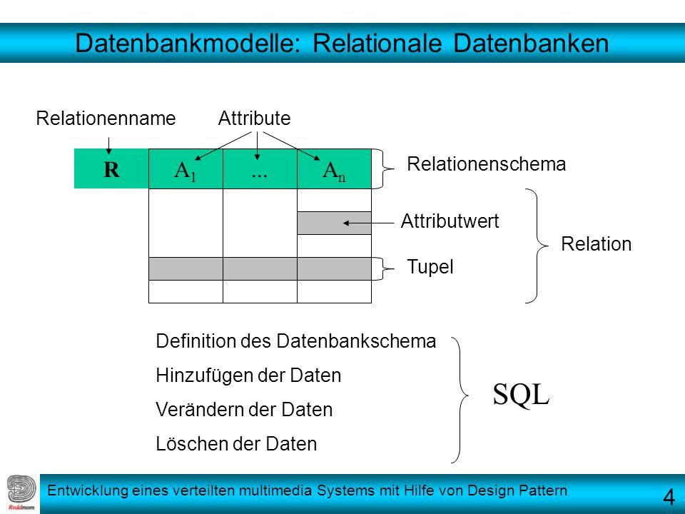 Entwicklung eines verteilten multimedia Systems mit Hilfe von Design Pattern Datenbankmodelle: Relationale Datenbanken...AnAn R Definition des Datenba