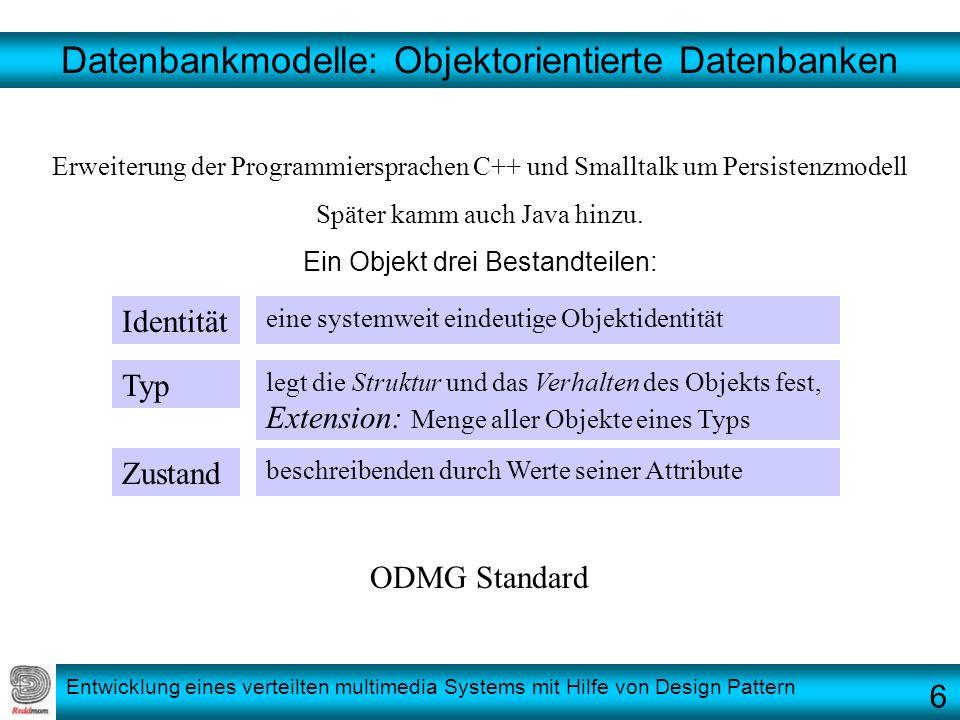 Entwicklung eines verteilten multimedia Systems mit Hilfe von Design Pattern Datenbankmodelle: Objektorientierte Datenbanken Erweiterung der Programmi
