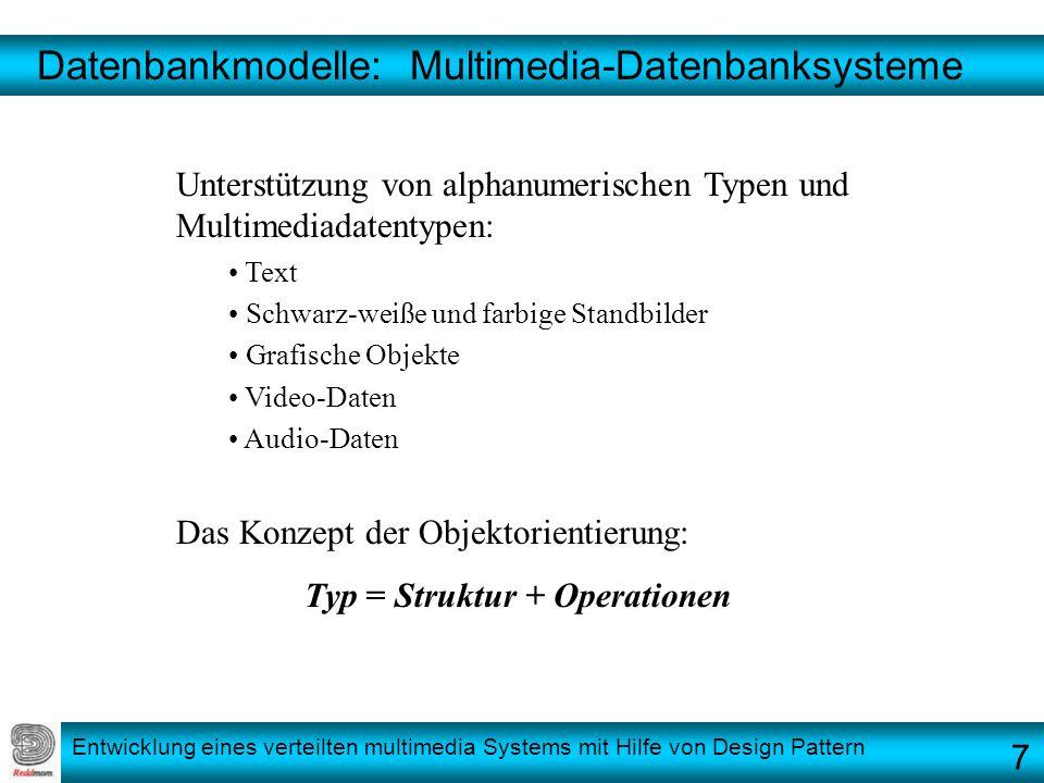 Entwicklung eines verteilten multimedia Systems mit Hilfe von Design Pattern Datenbankmodelle: Multimedia-Datenbanksysteme Unterstützung von alphanume