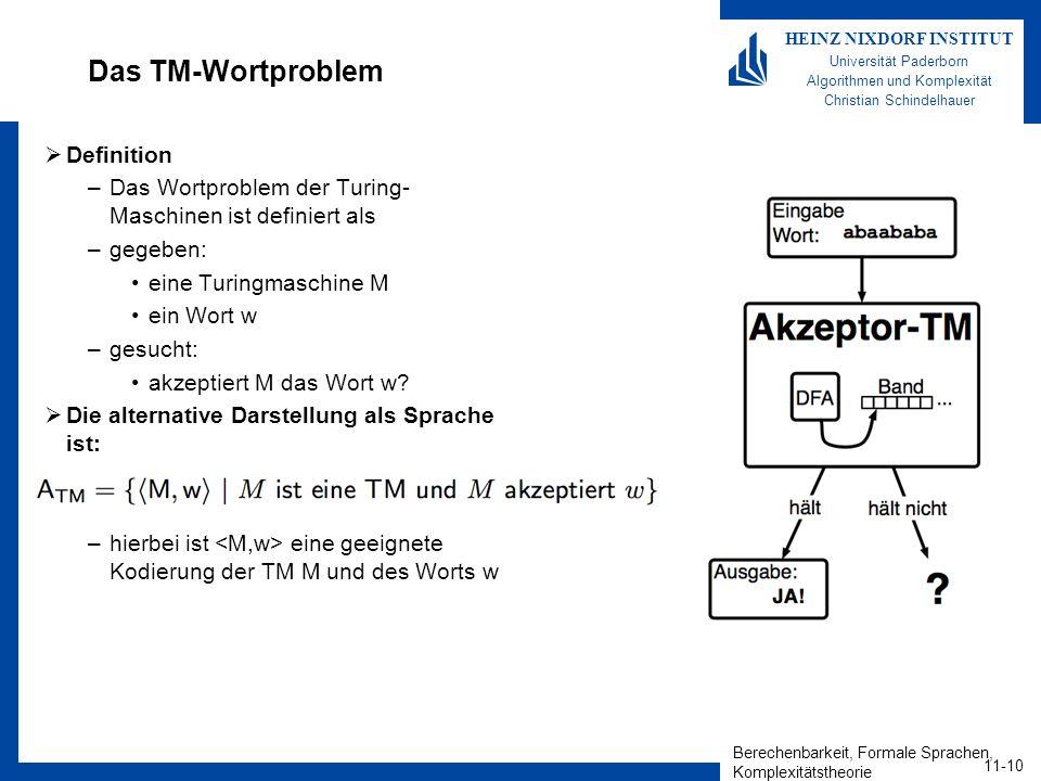 Berechenbarkeit, Formale Sprachen, Komplexitätstheorie 11-10 HEINZ NIXDORF INSTITUT Universität Paderborn Algorithmen und Komplexität Christian Schindelhauer Das TM-Wortproblem Definition –Das Wortproblem der Turing- Maschinen ist definiert als –gegeben: eine Turingmaschine M ein Wort w –gesucht: akzeptiert M das Wort w.