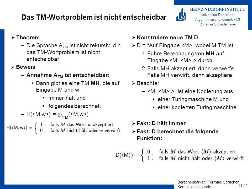 Berechenbarkeit, Formale Sprachen, Komplexitätstheorie 11-11 HEINZ NIXDORF INSTITUT Universität Paderborn Algorithmen und Komplexität Christian Schindelhauer Das TM-Wortproblem ist nicht entscheidbar Theorem –Die Sprache A TM ist nicht rekursiv, d.h.