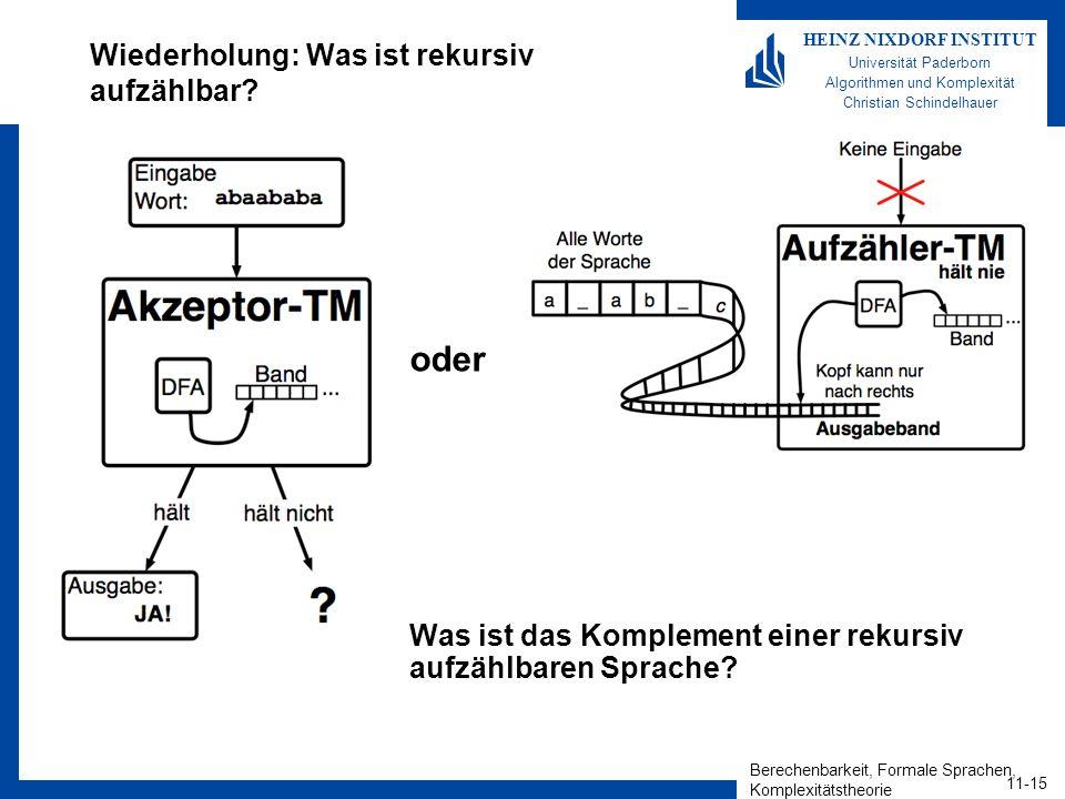 Berechenbarkeit, Formale Sprachen, Komplexitätstheorie 11-15 HEINZ NIXDORF INSTITUT Universität Paderborn Algorithmen und Komplexität Christian Schindelhauer Wiederholung: Was ist rekursiv aufzählbar.